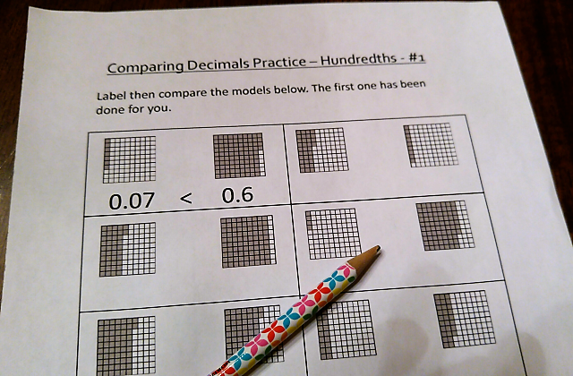 decimal worksheet 1