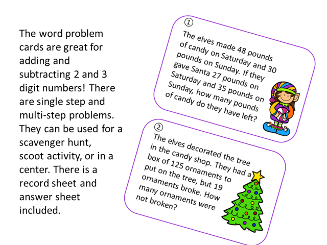 Add and Subtract Christmas Word Problems