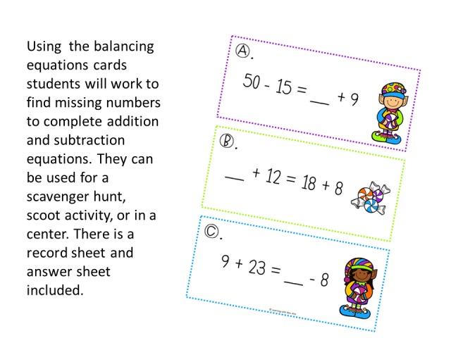Balancing Equations Christmas Activity