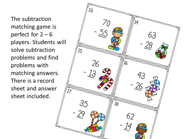 Subtraction Christmas Matching Game